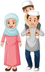 Foto op Plexiglas Kids Arab muslim family in color traditional clothing isolated on white background