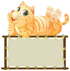 Fotobehang Kids Board template with cute cat on white background