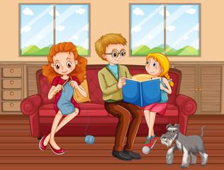 Stores à enrouleur Jeunes enfants Happy family at home