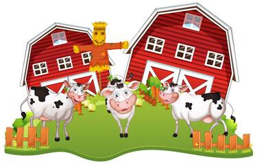 Photo sur Aluminium Jeunes enfants Happy cows at farm
