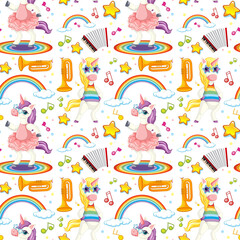 Photo sur Aluminium Jeunes enfants Seamless unicorn music theme