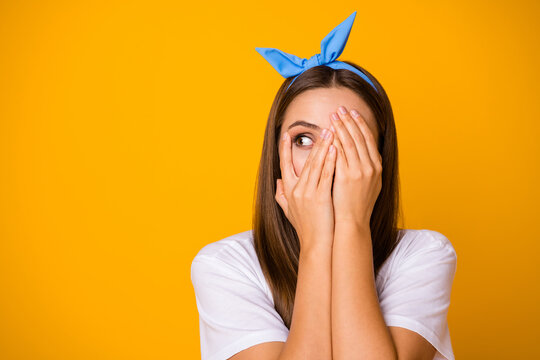 Close up photo of scared frustrated girl hide palms face look copyspace feel fear about her mistake wear trend pop shine clothes isolated over bright shine color background