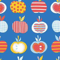 Apples seamless repeating vector pattern. Cute abstract apple illustration background. Fruits in blue, red, white, orange, yellow Scandinavian style. For kids products, children decor, fabric, fashion