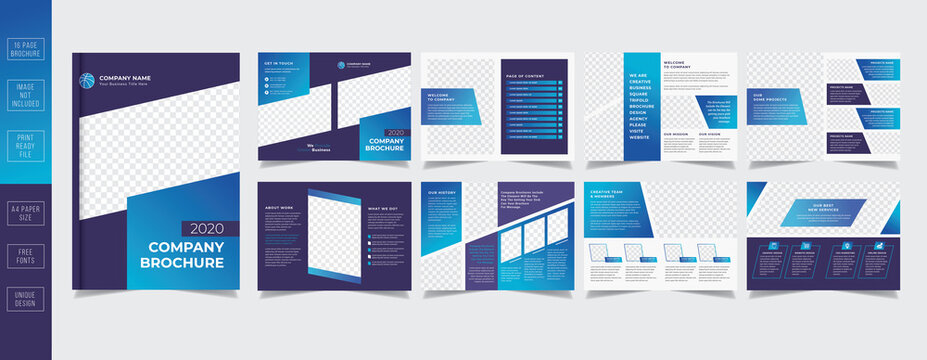 Business Company Brochure Design Template 16 Pages