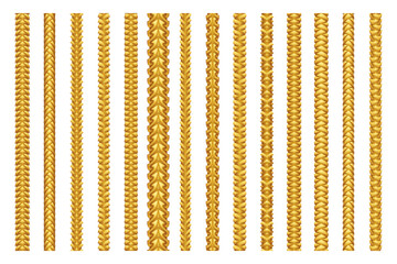 Seamless golden decoration chain braid ornament belt plait isolated gold pattern border set design vector illustration