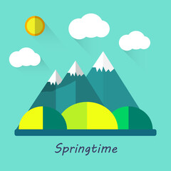 Wall Murals Green coral Color vector flat icons, illustrations spring :, mountains, sun, clouds, trees, nature walks, fresh air field