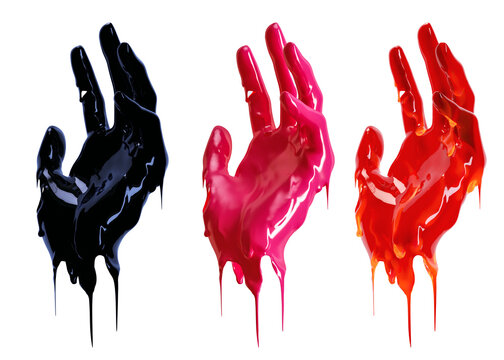 Art liquid abstract design idea. Black and red paint drip hand gesture isolated on a white background 3d rendering.