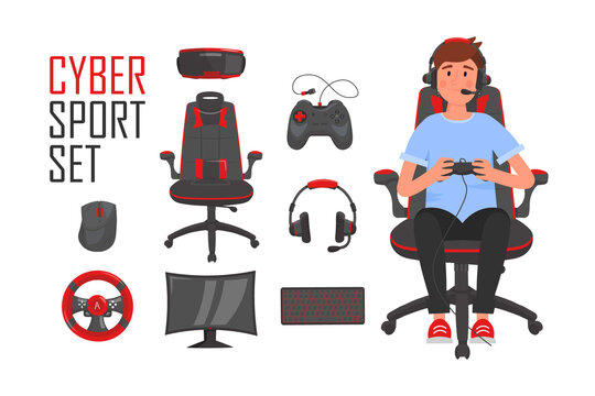 Cyber Sport set. eSports gaming icons with young gamer sitting in chair and playing video game. Vector cartoon illustration.