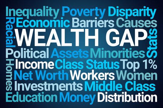 Wealth Gap Word Cloud on Blue Background