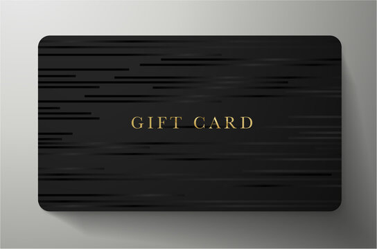 Gift card with horizontal lines on back background. Dark template useful for any invitation design, shopping card (loyalty card), voucher or gift coupon