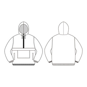 Anorak vector illustration flat outline template clothing collection top