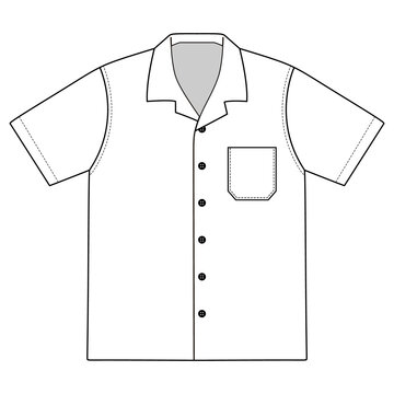 Bowling shirt vector illustration flat outline template clothing collection top