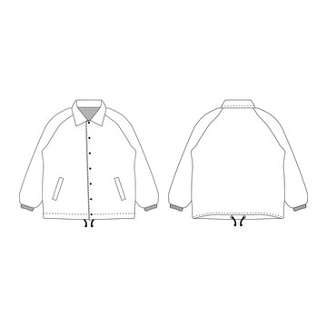 Windbreaker vector illustration flat outline template clothing collection top