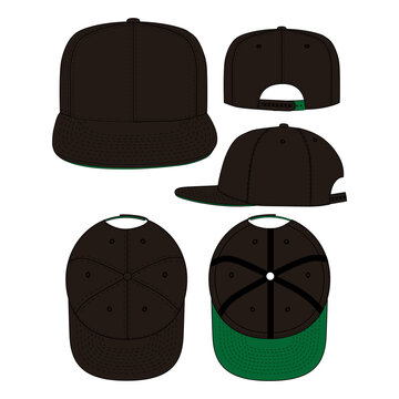 Snapback vector illustration flat outline template clothing collection accessories hat