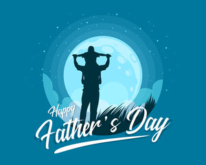 Happy father's day banner with Silhouette son is riding his father is neck at blue full moon night time vector design