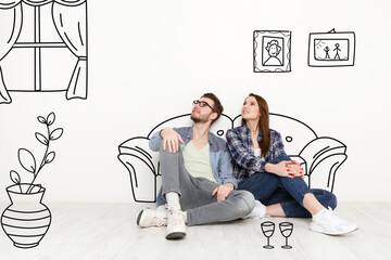 Millennial couple imagining interior of their new home, collage with sketch drawings on white wall