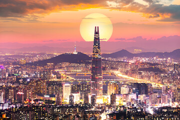 Sunset of Seoul City and Seoul Tower South Korea