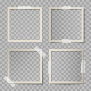 Vector set of beige square photo card frames