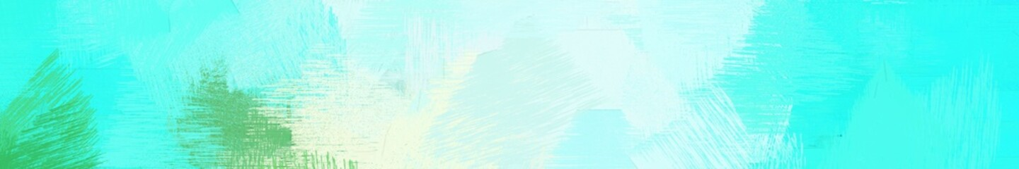 Poster Turquoise wide landscape graphic with artistic brush strokes background with pale turquoise, turquoise and light cyan