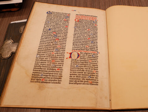 A page from the Gutenberg Bible is pictured in the office of Ukrainian opposition politician Medvedchuk in Kyiv