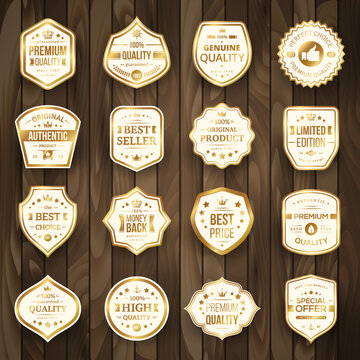 Set of Retro Gold Premium Quality Badges and Labels on Wooden Background. Vector Illustration. Quality Guarantee. Best Choice, Best Price, Original Product, Money Back Guarantee. Authentic Product.