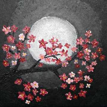 Blooming pink tree banch under the moon light - acrylic painting