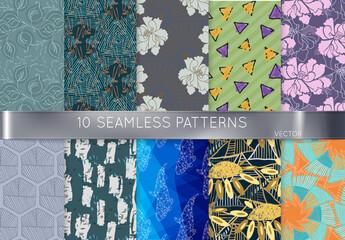 Green Triangles Hand Drawn Seamless Pattern Art Kit