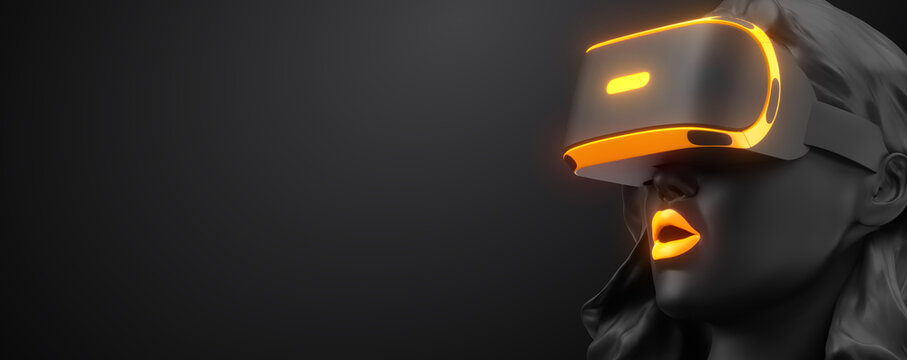 VR headset, online shopping. 3d render of the woman, wearing virtual reality glasses on black background. Woman buys a goods in one click. You will also find a EPS 10  for this image in my portfolio