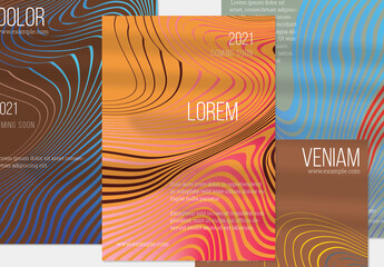 Crimson Orange Blue Vertical Flyer Layout with Abstract Wavy Shape