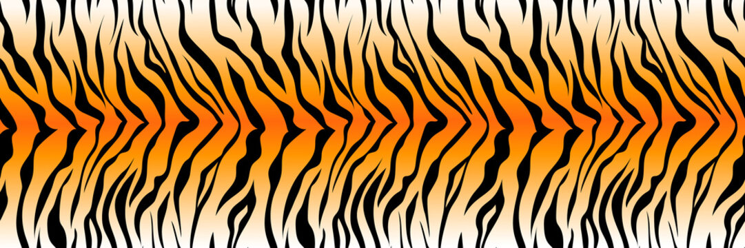 Pattern striped tiger or zebra skin print background, long banner animal fur, hair skin texture, seamless