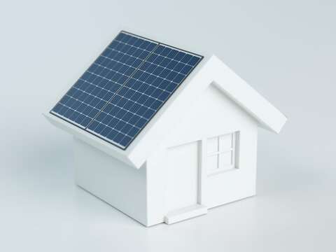 3D small house with solar panels, 3d illustration