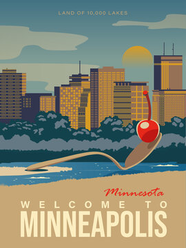 Minnesota tourist vector poster with landscapes, sightseeing in flat vintage style. Minneapolis on a card for tourists and decor. Rock lighthouse