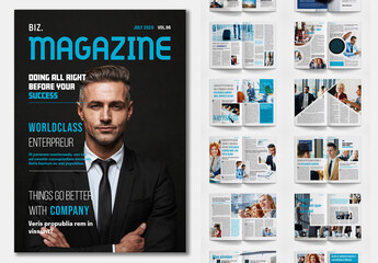 Business Magazine Layout with Blue Accents