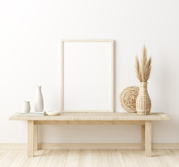 Poster Pierre, Sable Mock up frame in home interior background, white room with natural wooden furniture, Scandi-Boho style, 3d render