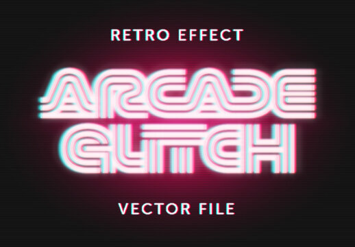 Retro Neon Glitch Effect Mockup