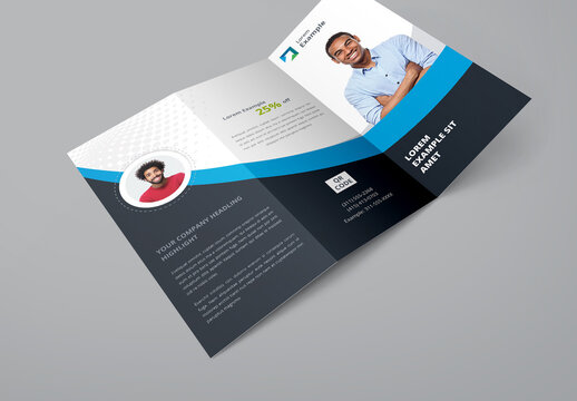 Blue and Dark Gray Trifold Brochure Layout