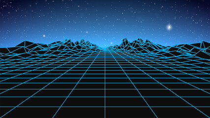 Synthwave background. Dark Retro Futuristic backdrop with blue wireframe landscape and sky full of stars. Horizon glow. Abstract Retrowave template. 80s Vaporwave style. Stock vector illustration