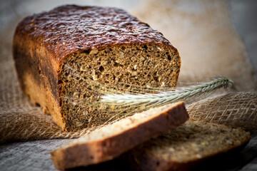 Fototapeta chleb żytni razowy, bochenki, jedzenie, bochenek, żytni, zdrowa, pieczone, śniadanie, piekarnia, zboza, swiezy, posiłek, mączny, naturalny, jedzenie, razowy, słonecznik obraz