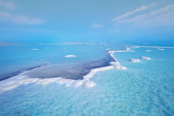 Fototapete - Texture of Dead Sea. Seascape. Salty sea shore. Nature background. Israel