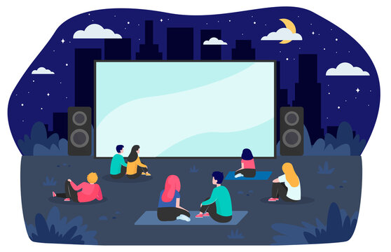 Young friends resting at backyard and watching movie flat vector illustration. Open air cinema at night. Entertainment, vacation and weekend concept