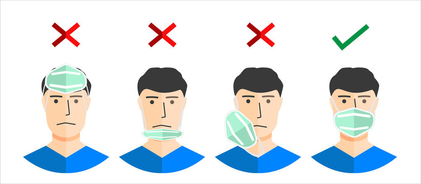 How to wear a mask correct. Man presenting the correct method of wearing a mask, to reduce the spread of germs, viruses and bacteria.Stop the infection instructions vector illustration