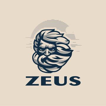 Zeus head. Vector illustration.