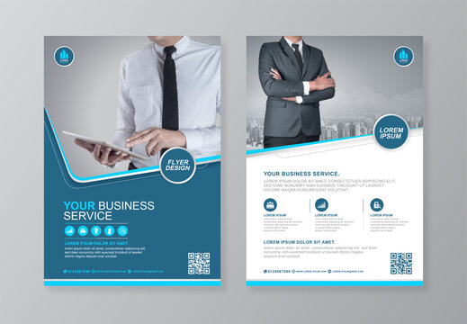 Corporate business cover and back page a4 flyer design template for print