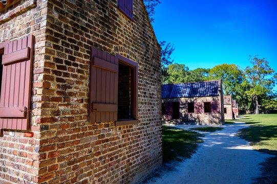 Boone Hall Plantation, Mt Pleasant, South Carolina, USA - 10/2019:  Side view of slave quarters