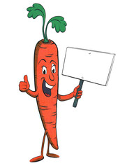 Funny, retro carrot cartoon character in halftone effect isolated on white holding a blank sign and giving thumbs up