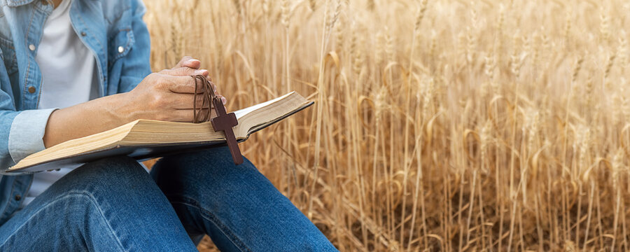 Christian woman praying on holy bible and wooden cross in barley field on summer. Woman pray for god blessing to wishing have a better life and believe in goodness.