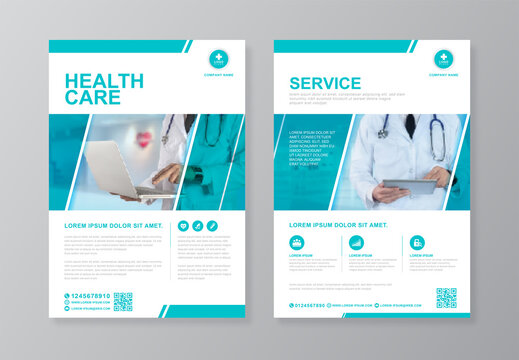 Corporate healthcare and medical cover and back page a4 flyer design template for print