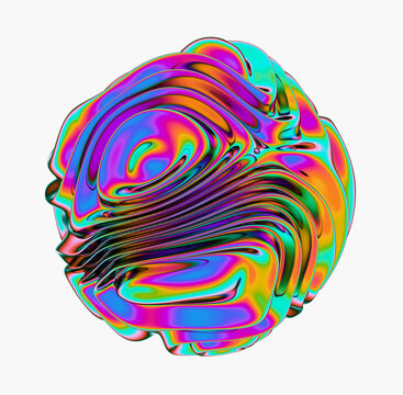 3D rendering of Glossy distorted holographic sphere.