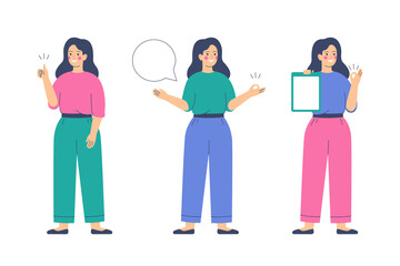 Girl is making a thumb up gesture. Happy young woman raises her hand with sign ok and speech bubble. Presentation concept. Human character vector illustration.