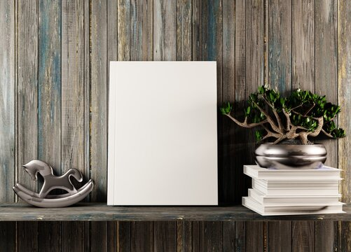 A white book template with plant and toy on the shelf. Presentation of the book. 3D rendering.
